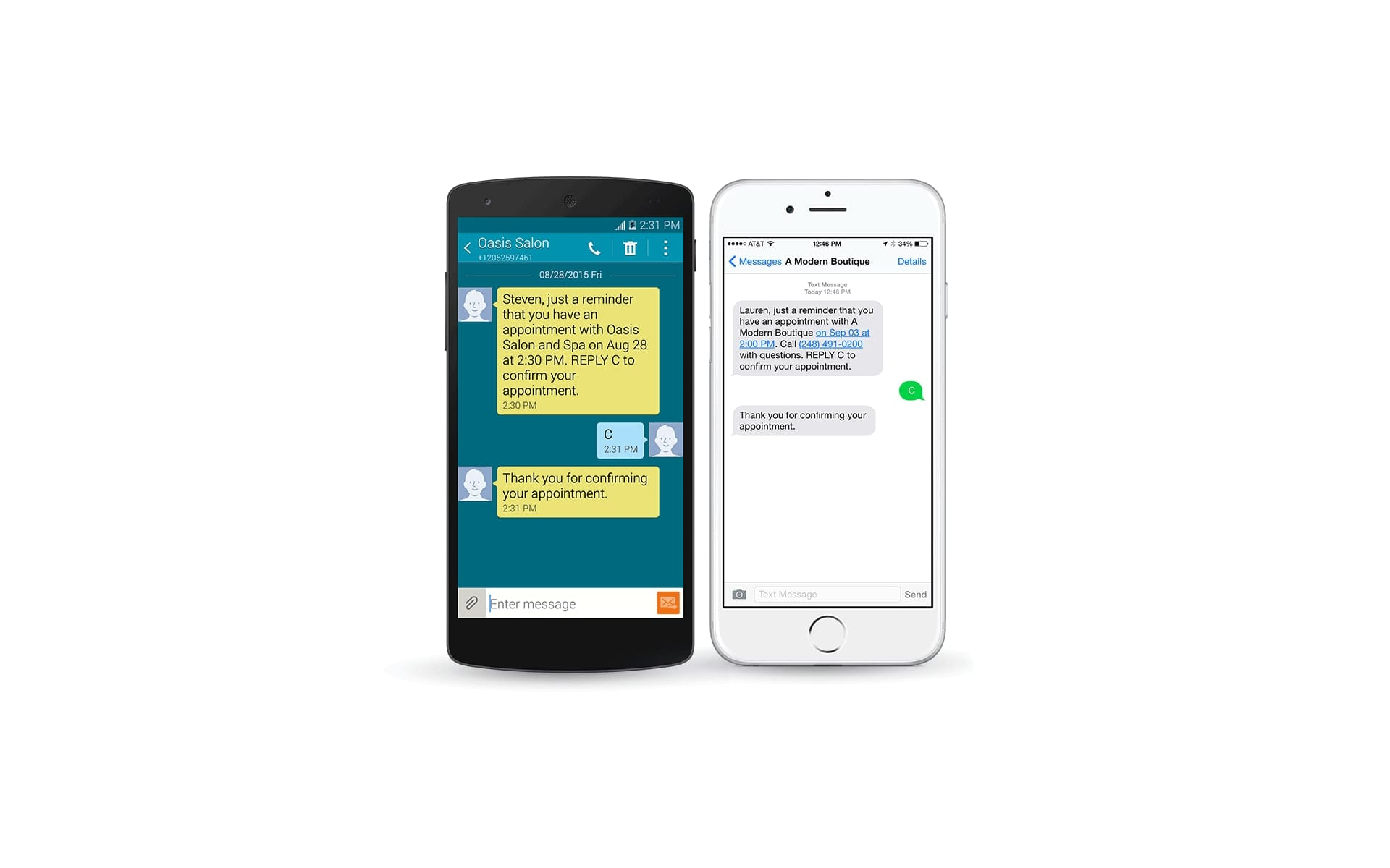 Salon Iris Text Message Confirmations