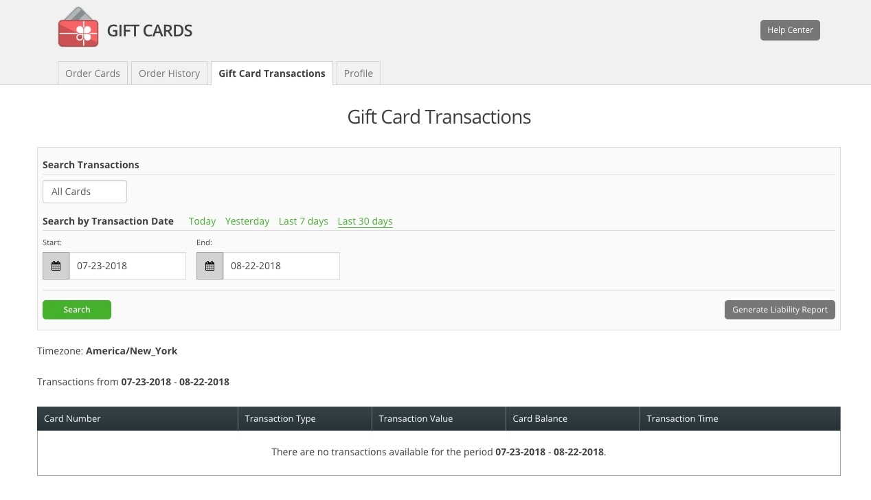 Clover Gift Card Transaction Reports