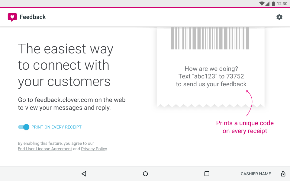 clover feedback receipt
